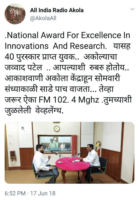 AIR twitter Akola Jawwad Patel Scientist