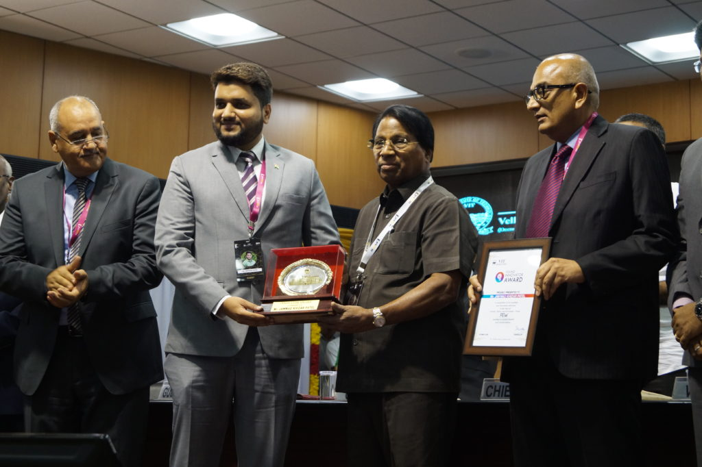 Jawwad Patel Young innovator Award VIT