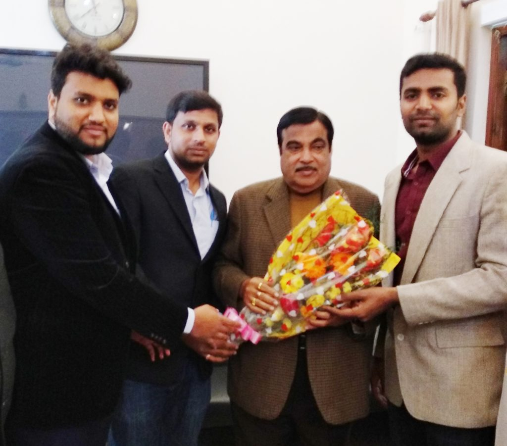 Jawwad Patel with with Nitinji Gadkari  Central Minister of Road Transport and Highways of India