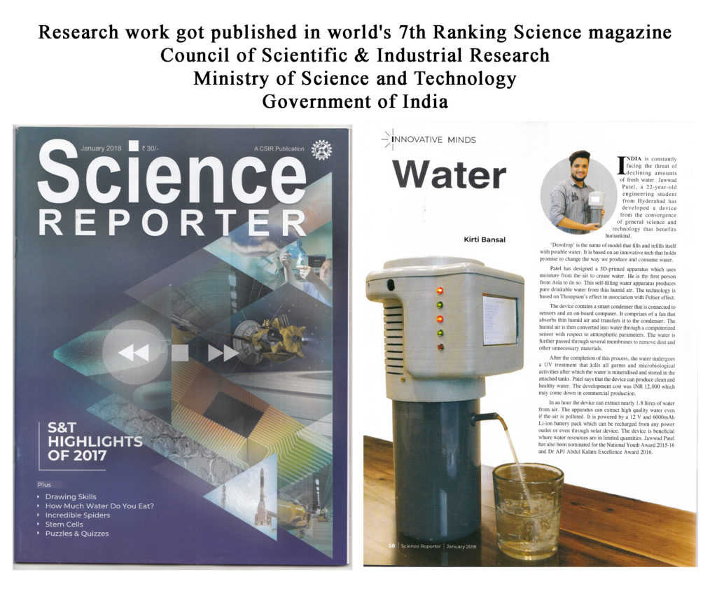 Science Reporter - Jawwad Patel - Dewdrop